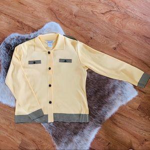 Misook Four Button Knit Blazer Yellow Size Medium